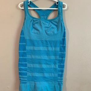 Lululemon neon blue stripped tank top